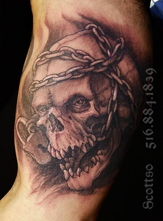 With Chains And Lock Inner Bicep Tattoo In Black Amp Grey Tattoos By